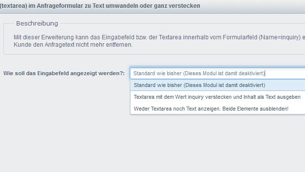 Shopware Modul: Artikel-Feld (textarea) im Anfrageformular zu Text ...