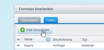 Adminbereich Formular-Felder neues Feld erstellen